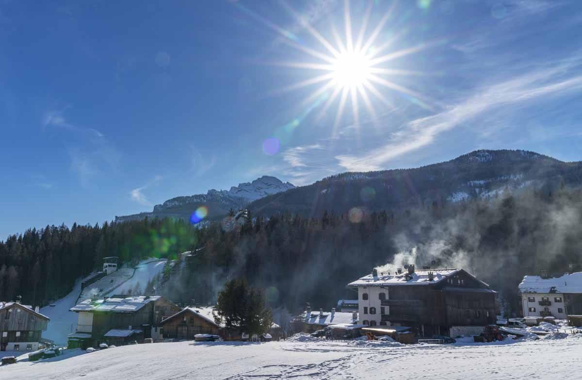cortina winter snowy mountains sun