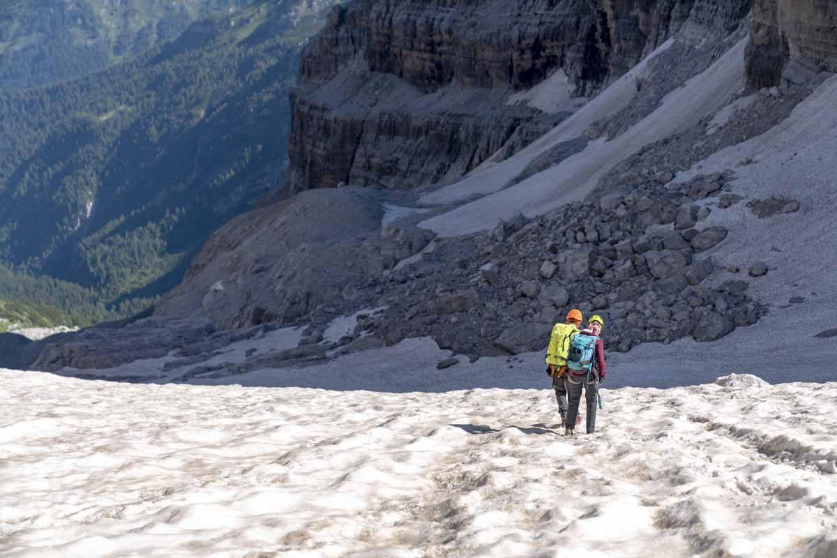 hiking on snow italian alps
