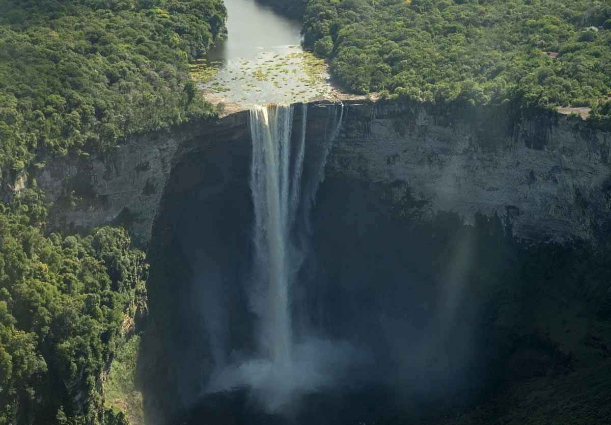 waterfall guyana plane