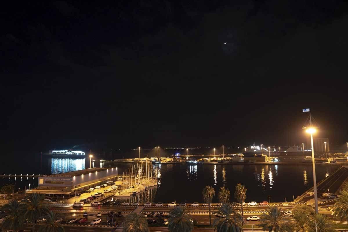 cagliari harbour winter night