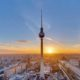 Beautiful sunset with the Television Tower at Alexanderplatz